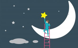 man on ladder placeing a star above a cresent shaped moon in a star studded sky
