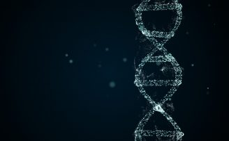 Blue DNA molecule on black background