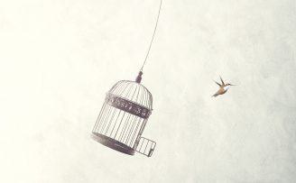 Illustration of a swinging bird cage with an open door and a bird flying off