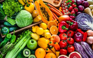 colourful array of fresh fruit and vegetables