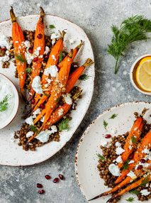 Honey roast carrots on top of lentils with crumbed feta